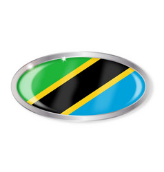 Tanzania flag oval button vector