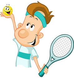 tennis player holding a tennis ball and racket vector image