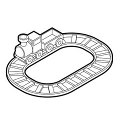 Toy train icon outline style vector