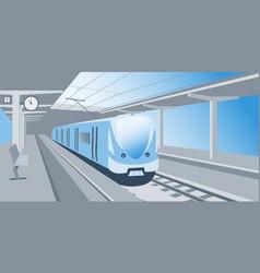 Train at railway station vector