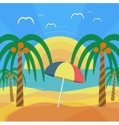 Tropical beach with palm trees and umbrella vector image vector image