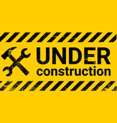 under construction site banner sign black vector image