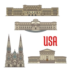 Us architecture and cathedral landmarks vector