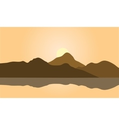 View of brown mountain silhouette vector