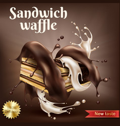 waffle with chocolate and creamy filling vector image