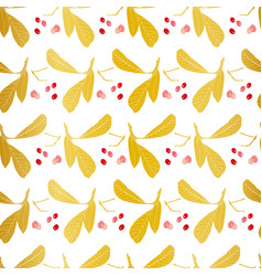 white and gold pattern with leaf vector image