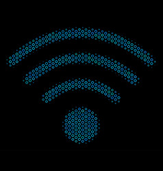 wi-fi source collage icon of halftone circles vector image