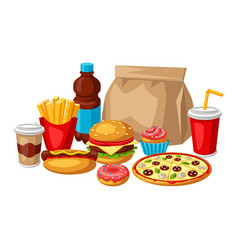 With fast food meal tasty fastfood vector