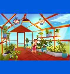 Woman in greenhouse care garden plants orangery vector