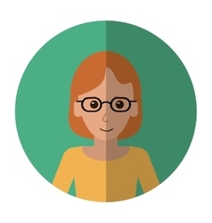Woman with glasses intelligent success shadow vector