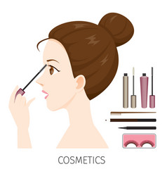 Woman with hair bun make-up mascara vector
