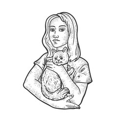 woman with pet cat sketch vector image