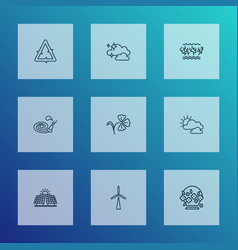 World icons line style set with clean air vector