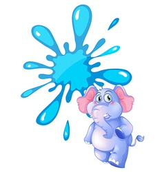 A gray elephant and an empty blue template vector image vector image