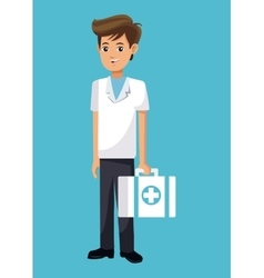 cartoon young doctor with first aid kit vector image