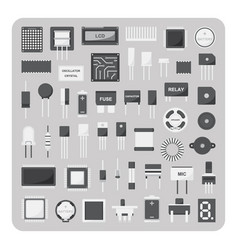 flat icons electronic circuit board set vector image vector image