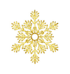 golden christmas snowflake isolated on white vector image