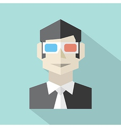 Man Wearing 3D Glasses Icon vector image