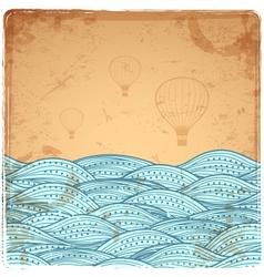 Blue Vintage Waves vector image vector image