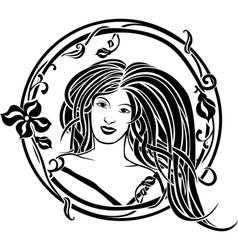 Girl portrait in the Art Nouveau style vector image vector image