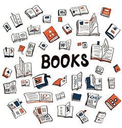 Many books sketchy background - vector image vector image