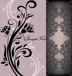 purple floral card vector image vector image