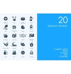 Set of BLUE HAMSTER Library healthy eating icons vector image vector image