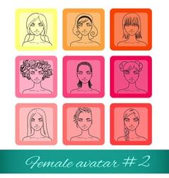 Set of nine female avatars vector image vector image