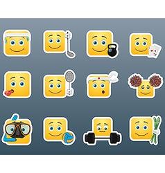 Sport emoticon smile stickers set vector image vector image