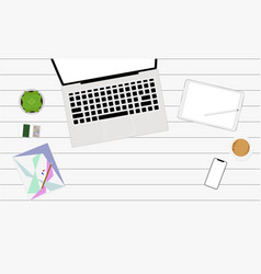 workplace top view with laptop smartphone tablet vector image vector image