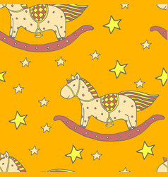 Baby toys horse seamles pattern vector