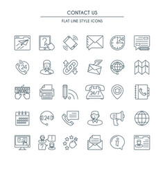 contact us thin line icons set vector image vector image