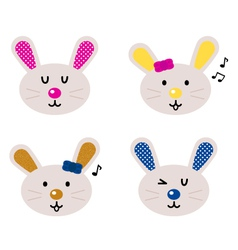 cute bunny heads vector image vector image