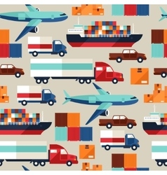 Freight cargo transport seamless pattern in flat vector image vector image
