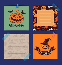 halloween notes set template vector image
