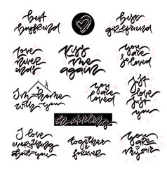 hand drawn lettering set about love vector image vector image
