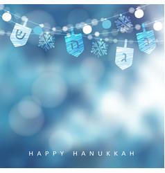 hanukkah blue greeting card invitation with vector image vector image