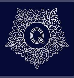 monogram q bage logo text vector image vector image