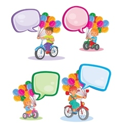 Set icons small children on bicycles vector image vector image