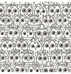 Cute owls seamless pattern vector image