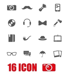 grey hipster icon set vector image vector image