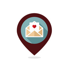happy valentine day card in envelope pin map icon vector image