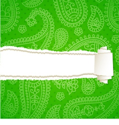 Torn paper with a paisley pattern vector image vector image