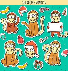 Year of red monkey Doodle set monkeys sticker vector image
