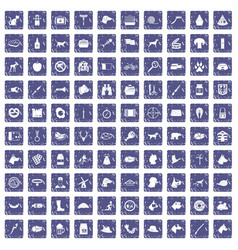 100 dog icons set grunge sapphire vector