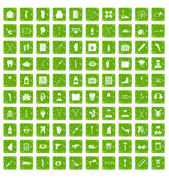 100 medical care icons set grunge green vector