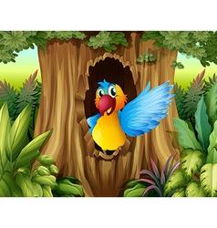 A bird in a tree hollow vector
