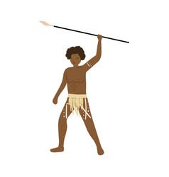 Aboriginal african warrior man with long metal vector