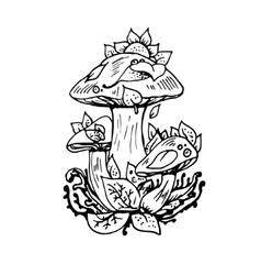 Abstract graphic mushrooms print vector