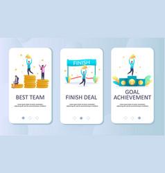 achievements mobile app onboarding screens vector image